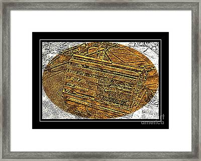 Lobster Pot - Brass Etching Framed Print by Barbara Griffin