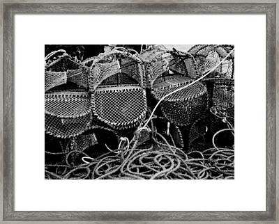Lobster Pots In Black And White Framed Print by Angela Rowlands