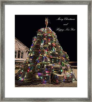 Framed Print featuring the photograph Lobster Trap Christmas Tree Card by Richard Bean