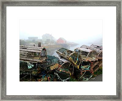 Lobster Traps And Fog Framed Print by Tracy Munson