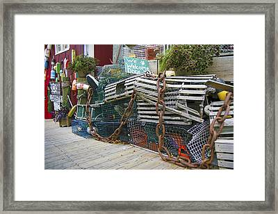 Lobster Traps And Such Framed Print by Betsy Knapp