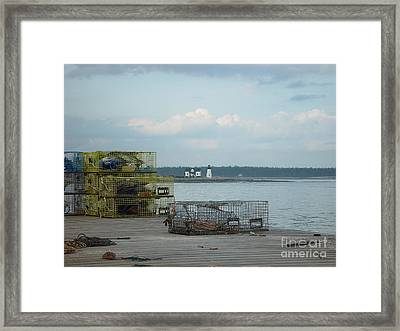 Lobster Traps At Prospect Harbor Wharf Framed Print by Christopher Mace