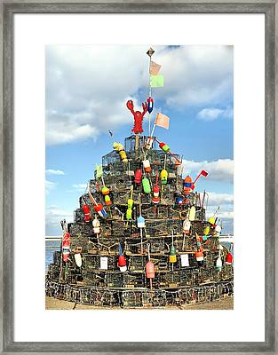 Lobster Traps Christmas Tree Framed Print