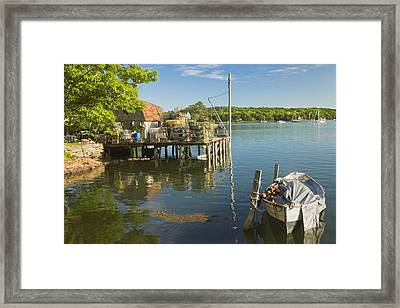 Lobster Traps On Pier In Round Pound On The Coast Of Maine Framed Print by Keith Webber Jr