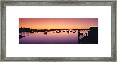 Lobster Village At Sunrise, Stonington Framed Print by Panoramic Images