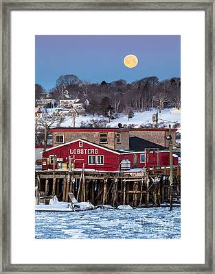 Lobster Wharf Moon Framed Print by Benjamin Williamson