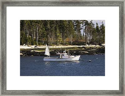 Lobsterboat In Spruce Head Maine Framed Print