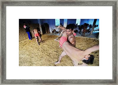 Local Wrestling Framed Print by Money Sharma