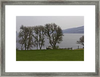 Loch Ness And Boat Jetty Next To Urquhart Castle Framed Print