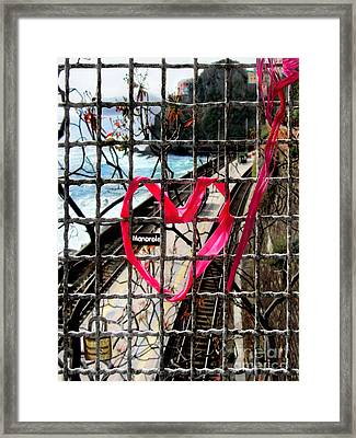 Framed Print featuring the photograph Lock And Love.cinque Terre.italy by Jennie Breeze