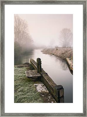 Framed Print featuring the photograph Lock Gates On A Still Misty Morning. by Trevor Chriss