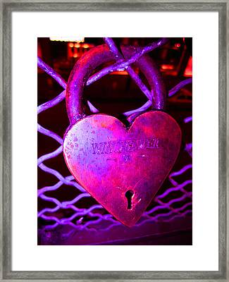 Lock Of Love In Pink Framed Print by Kym Backland