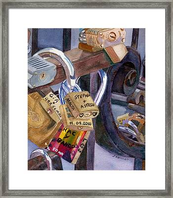 Framed Print featuring the painting Locks Of Luck by Lynne Reichhart