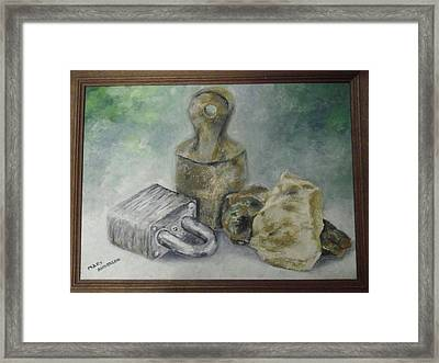 Framed Print featuring the painting Locked And Anchored by Mary Ellen Anderson