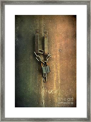 Locked Gate With A Keychain And Keylock Framed Print