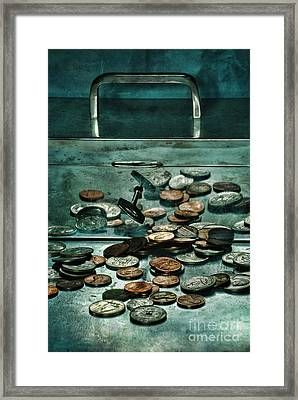 Locked Silver Box With Coins Framed Print