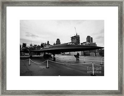 Lockheed A12 Blackbird On Display On The Flight Deck At The Intrepid Sea Air Space Museum Framed Print by Joe Fox