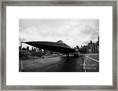 Lockheed A12 Blackbird On The Flight Deck Of The Uss Intrepid At The Intrepid Sea Air Space Museum Framed Print