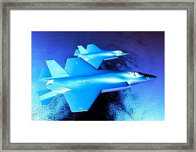 Lockheed Martin F 35 Strike Fighters Night Mission Framed Print by L Brown