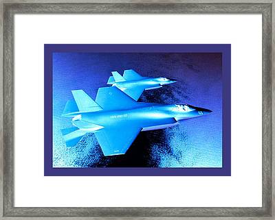 Lockheed Martin F 35 Strike Fighters Night Mission Small Border Framed Print by L Brown