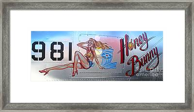 Lockheed P-38l Lightning Honey Bunny Nose Art - 03 Framed Print by Gregory Dyer