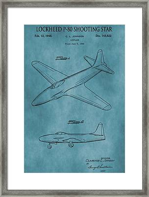 Lockheed P-80 Patent Blue Framed Print