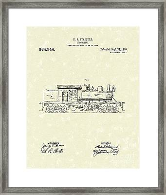 Locomotive 1909 Patent Art Framed Print by Prior Art Design