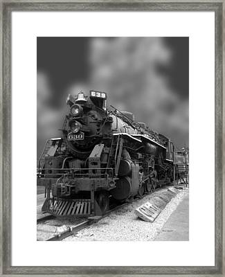 Locomotive 639 Type 2 8 2 Front And Side View Bw Framed Print by Thomas Woolworth