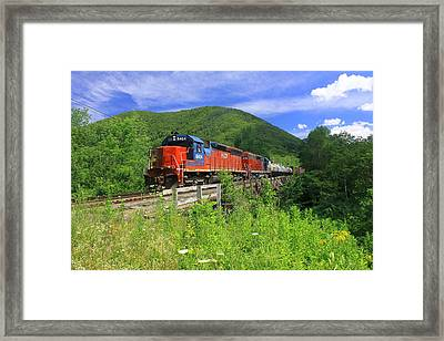 Locomotive And River Valley Framed Print by John Burk