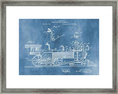 Locomotive Patent On Blue Framed Print by Dan Sproul