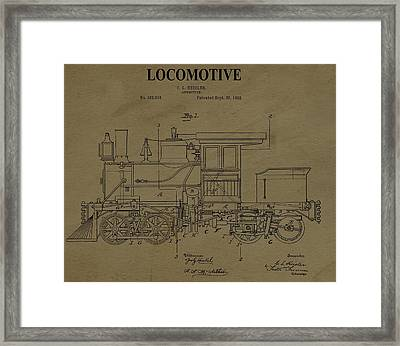 Locomotive Patent Postcard Framed Print