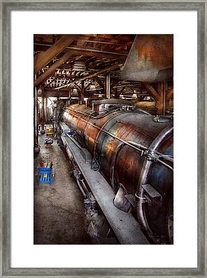 Locomotive - Routine Maintenance  Framed Print by Mike Savad