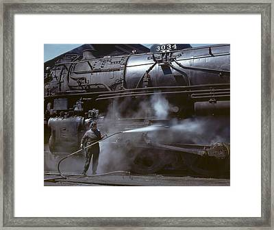 Locomotive Wiper In Clinton Iowa 1943 Framed Print by Mountain Dreams