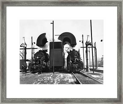 Locomotives In A Railway Yard Framed Print