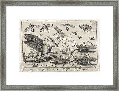 Locusts And Fantasy Creature With Wings And Webbed Framed Print by Nicolaes De Bruyn
