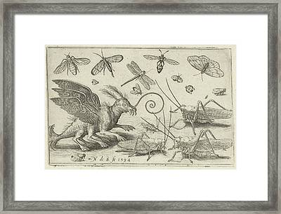 Locusts And Fantasy Creature With Wings, Nicolaes De Bruyn Framed Print by Nicolaes De Bruyn