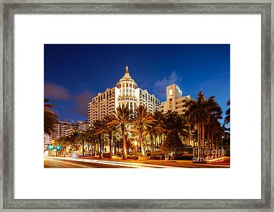 Loews And St. Moritz Hotel On Collins Avenue At Dawn - Miami Beach Florida Framed Print