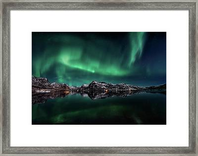 Lofoten Aurora Reflection Framed Print