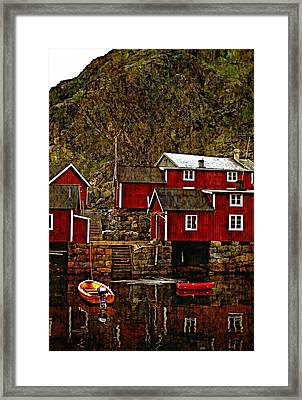 Lofoten Fishing Huts Overlay Version Framed Print by Steve Harrington
