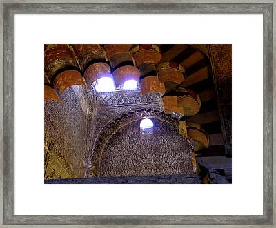 Lofty Arches - Mezquita Framed Print by Jacqueline M Lewis