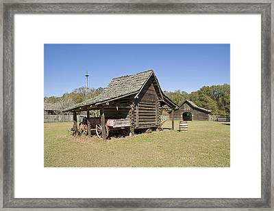 Framed Print featuring the photograph Log Cabin And Barn by Charles Beeler