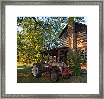 Log Cabin And Tractor Framed Print by Nickaleen Neff