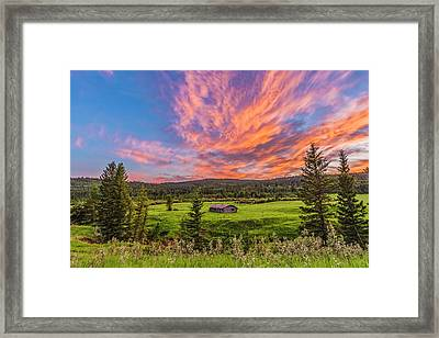 Log Cabin At Sunset Framed Print by Alan Dyer