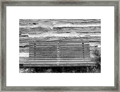 Log Cabin Bench 1 Black And White Framed Print by Mary Bedy