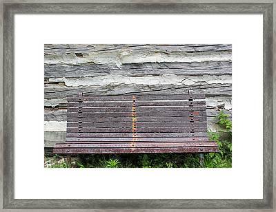 Log Cabin Bench 1 Framed Print by Mary Bedy