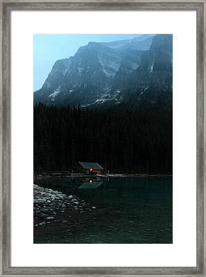 Log Cabin By The Lake Framed Print by Pierre Leclerc Photography
