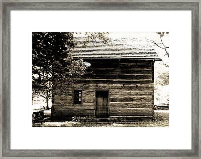 Log Cabin Home Framed Print by Brenda Donko