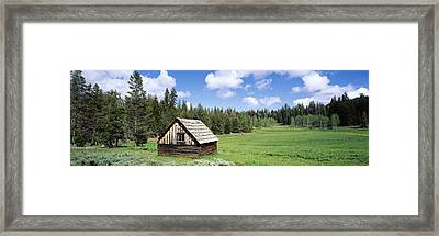 Log Cabin In A Field, Klamath National Framed Print by Panoramic Images