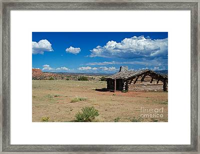 Log Cabin In New Mexico Framed Print by Sonja Quintero