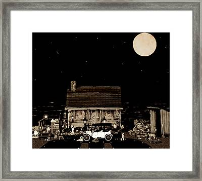 Log Cabin Scene  With The Old Vintage Classic 1913 Buick Model 25 In Sepia Color Framed Print by Leslie Crotty